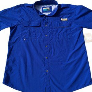 Magellan Outdoors Fish Gear Blue Button Down NWT L